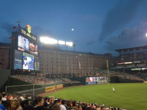 outfield at night with scoreboard at orioles stadium