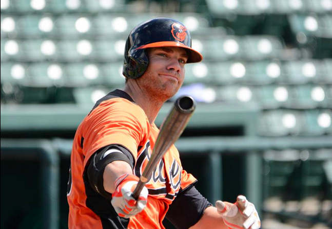 Chris Davis smirks while in extended Spring Training for the Baltimore Orioles.