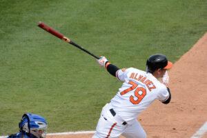 baltimore oriole alvarez swinging bat after hit