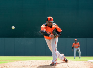 Mychal Givens pitches for the Baltimore Orioles in Spring Training.