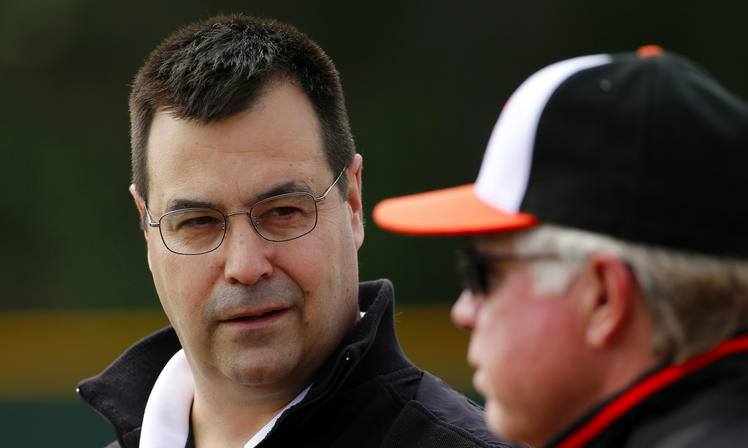 head shots of dan duquette with orioles manager