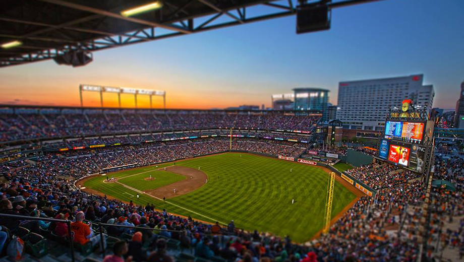 sunset view of oriole park at camden yards