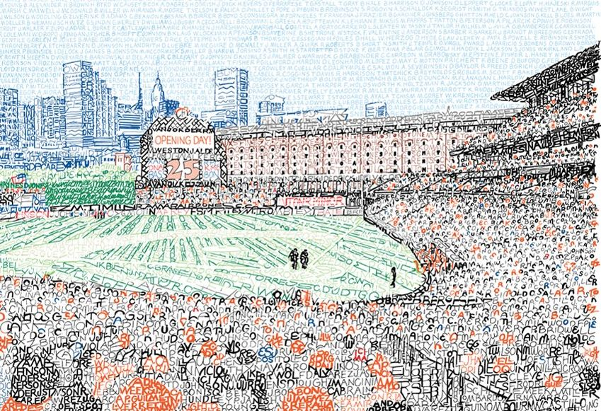 Art - Oriole Park at Camden Yards drawn using player names.