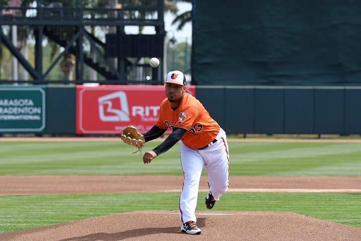 Nestor Cortes Jr. throws a pitch from the mound.