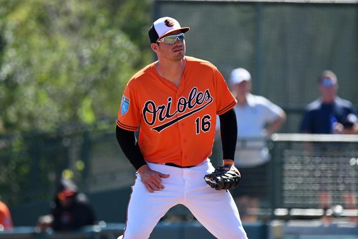 Trey Mancini gets ready to field.