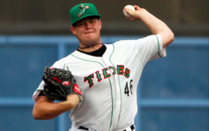 Josh Rogers of the Norfolk Tides pitches.
