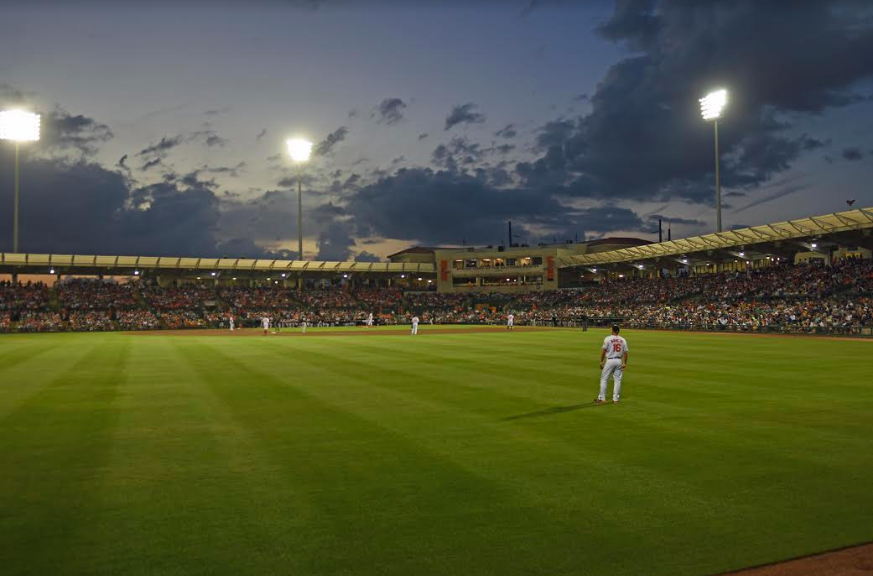 Ed Smith Stadium at night.