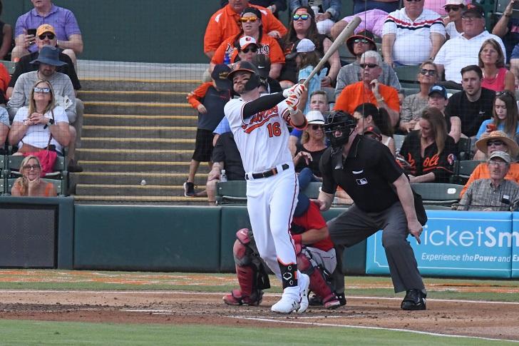 Trey Mancini swinging his bat.