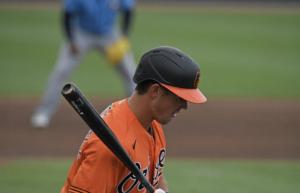 Ryan Mountcastle watches a pitch