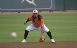 Freddy Galvis fields at shortstop
